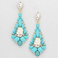 Classy Floral Drop Earrings TURQUOISE