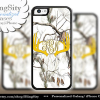Yellow Antlers Monogram iPhone 5C 6 Plus Case Browning iPhone 5s iPhone 4 case Ipod White Camo Deer Personalized Country Inspired Girl