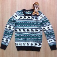 Unisex Christmas Sweater Xmas Reindeer Jumper Top Red Green Dark green