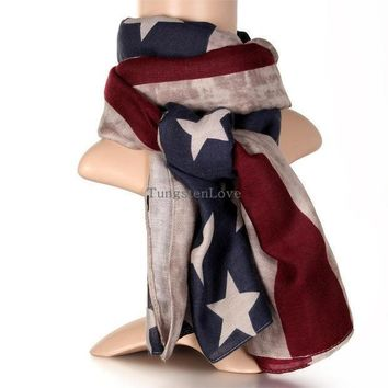 2016 New American Flag Scarf Vintage Usa Flags Infinity Scarves Long Scarf Cotton For Men Women
