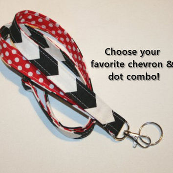 Lanyard  ID Badge Holder - Lobster clasp and key ring - design your own black chevron white polka dots red two toned double sided