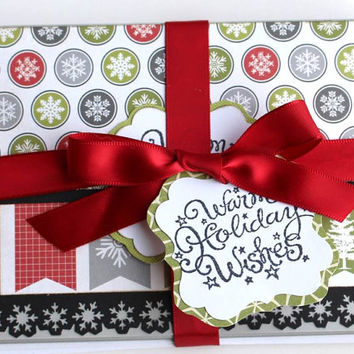 Christmas Assorted Note card Set of 6 Paper handmade greeting cards Snowflakes Blank cards Gift Card holders Warm Holiday Wishes