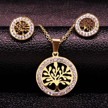Tree of Life Stainless Steel Jewellery Set Women Gold Color Crystal Necklace Earings Jewelry joyas acero inoxidable mujer 176186