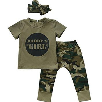 Infant Clothing  Set 2pcs Baby Clothes Newborn Toddler Army Green Baby Boy Girl Letter T-shirt Tops Camouflage Pants Outfits Set
