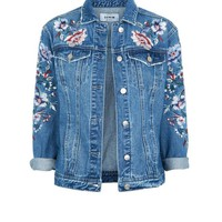 Blue Floral Embroidered Denim Jacket | New Look