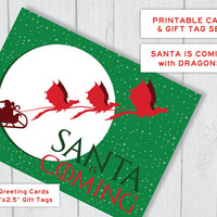 Santa Is Coming Printable Christmas Card and Tags Set | Thrones Dragons Holiday Card