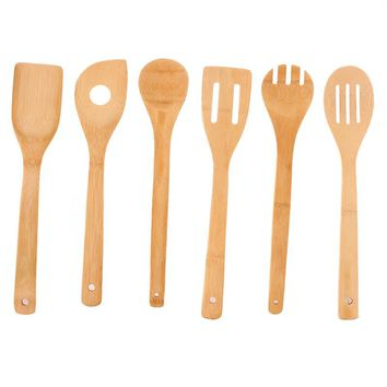 6Pcs/set Cooking Utensils Bamboo Wood Kitchen Slotated Spatula Spoon Mixing Holder Dinner Food Rice Wok Shovels Tool EJ875484