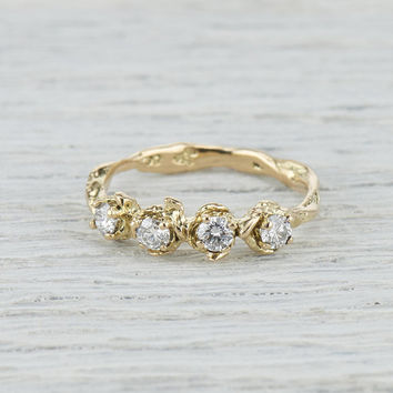 Four Diamond Twig and Leaf Wedding Band - Nature Inspired Engagement Ring with Diamonds in Yellow Gold, White Gold, Rose Gold or Platinum