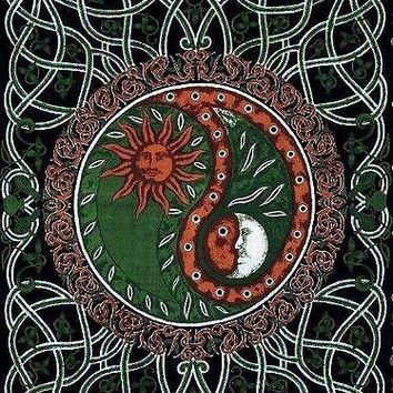 Handmade 100% Cotton Celtic Celestial Yin Yang Tapestry Bedspread Copper Full
