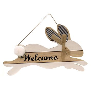Easter BUNNY WELCOME SIGN Wood Metal Ears Cotton Tail Ea14366