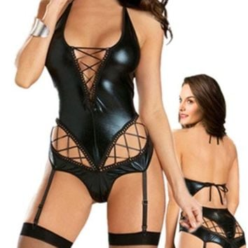 DCCKIX3 Easy Lover Sexy Patent Leather Teddy A-line Deep-v Lingerie with Garter Belt (Size: M, Color: Black) = 1931924740