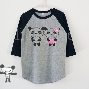 Panda lovers cartoon art children raglan shirt for kids toddlers boys girls clothing size S M L XL