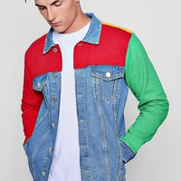 Colour Block Denim Jacket | Boohoo