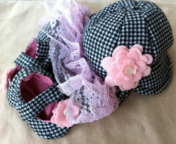 Baby Girl Diaper Cover Hat and Shoes in Black by fourtinycousins