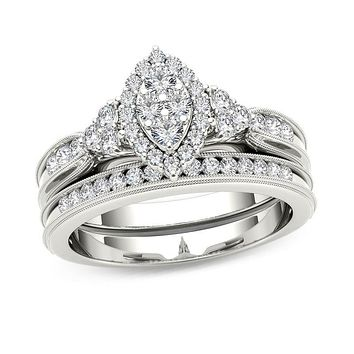 1/2 CT. T.W. Composite Marquise Diamond with Tri-Sides Bridal Engagement Ring Set in 14K White Gold