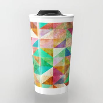 Abstract geometric Pattern with gold dust Travel Mug by Jeanette Rietz
