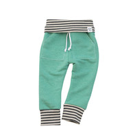 baby jogging sweatpants, mint stripe sweats, organic kid pants, take home outfit, green stripe sweatpants, baby jogging outfit, newborn