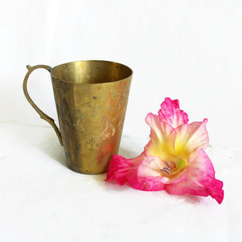 Vintage brass MUG INDIAN CARVED & handled. Made in India. Handmade, etched metal tumbler, Exotic coffee cup, Home bar, floral lotus etching