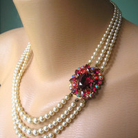 Pearl Choker, Pearl Necklace, Mother of the Bride, Bridal Jewelry, Great Gatsby, Ruby Choker, Wedding Jewelry, Pearl And Ruby Necklace