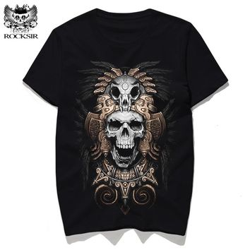 Rocksir Indian skull king design print SummerT-shirt men's T-shirts Cotton tee shirt black T-shirts tshirt men t shirts
