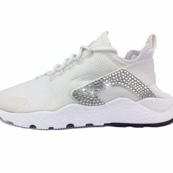 CLEARANCE - Nike Air Huarache Ultra + Crystals on INSIDE AND OUTSIDE LOGOS - White - SLIGHT DISCOLORING - SEE ADDITIONAL NOTES AND PICTURES!