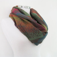 Pashmina infinity scarf, colorful loop scarf. circle shawl, spring shawl