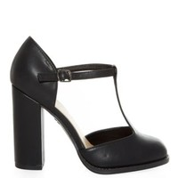 Wide Fit Black T-Bar Block Heels