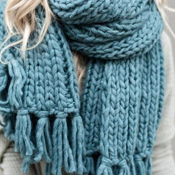 Desert Cozy Tassel Chunky Knitted Scarf - Teal