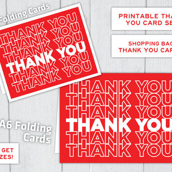 Red Shopping Bag Thank You Cards ~ Instant Download Printable Thank You Cards Set ~ 2 Sizes of Cards