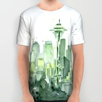 Seattle Watercolor Painting All Over Print Shirt by Olechka