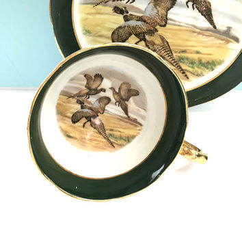 Vintage 1960'sTea Cup and Saucer, Pheasants, Vintage Bone China Tea Cup, Tea Cup Set, English Teacup, Green, Valentines Day Gift for Him