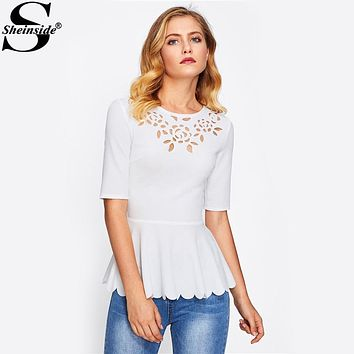 Sheinside Laser Cut Neck Scallop Hem Textured Peplum Blouse 2017 White Round Neck Half Sleeve Plain Blouse Women Elegant Blouse