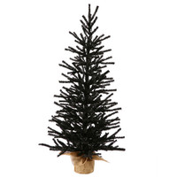 2.5' Black Artificial Christmas or Halloween Twig Tree in Burlap Base -  Unlit