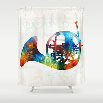 Colorful French Horn - Color Fusion By Sharon Cummings  Shower Curtain by Sharon Cummings