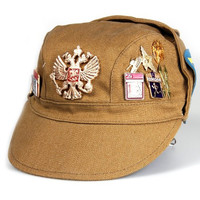 Russian Military Hat with Badges