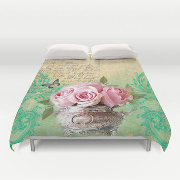 Vintage Roses #5 - Pretty Beautiful Flower Floral Duvet Cover by Juliana RW