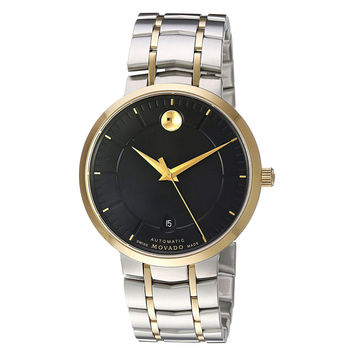 Movado Men's 1881 Automatic Black Dial Two Tone Steel Watch