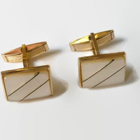 Vintage Rectangle Ivory Cufflinks, Gold tone Cuff Links, Men's Geometric Cuff Links , Men Wedding Jewelry, Gift for men