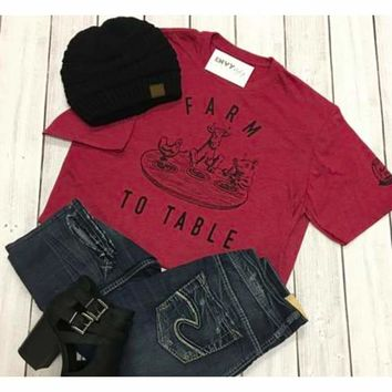 Farm To Table Tee Red (C-4)