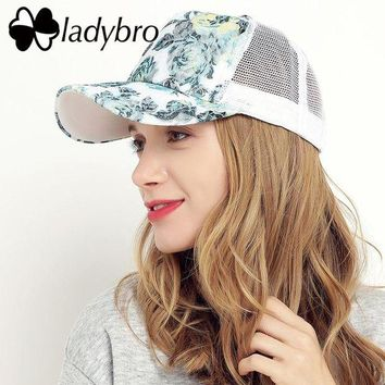 DCCKU62 Ladybro Brand Women Hat Cap Female Casual Lace Net Cap Trucker Hat Snapback Female Mesh Hat Summer Flower Black Cap Bone
