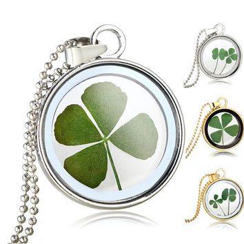 Natural Clover Floating Dried Flowers Pendant Necklaces Jewelry For Women Round Glass Silver/Gold Plated Chain Long Necklaces
