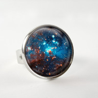 Space Sparkle Ring : Galaxy Ring. Blue Ring. Space Jewelry. Universe. Handmade Jewelry. Lizabettas