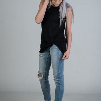 Black Sleeveless Knotted Tank (S-XL)
