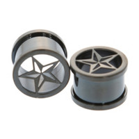 Morbid Metals Hematite Nautical Star Plugs 2 Pack