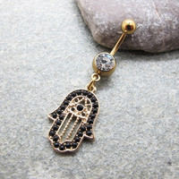 Black hamsa hand belly button ring , belly button jewelry,friendship belly rings,summer jewelry