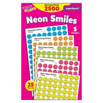 Superspots Stickers Neon 2500-pk Smiles