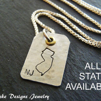 Sterling silver state jewelry custom state Necklace