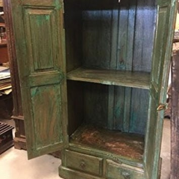 Reclaimed Indian Wood Cabinet Green Patina Armoire Sun Rays Carved Rustic Storage Chest