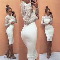 Lace Up Gauze Long Sleeve Tight Bodycon Mini Dress