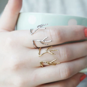 Adjustable antler ring reindeer staghorn open ring deer stag horn gold silver gift for her buck ring antlers ring